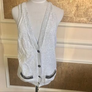 Hollister gray sweater vest with sequin pockets M